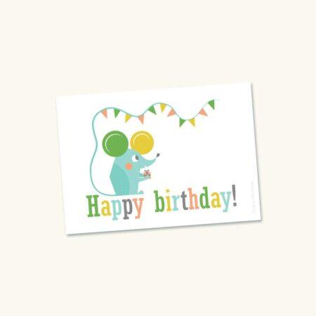 Wenskaart Verjaardag Muis Happy birthday