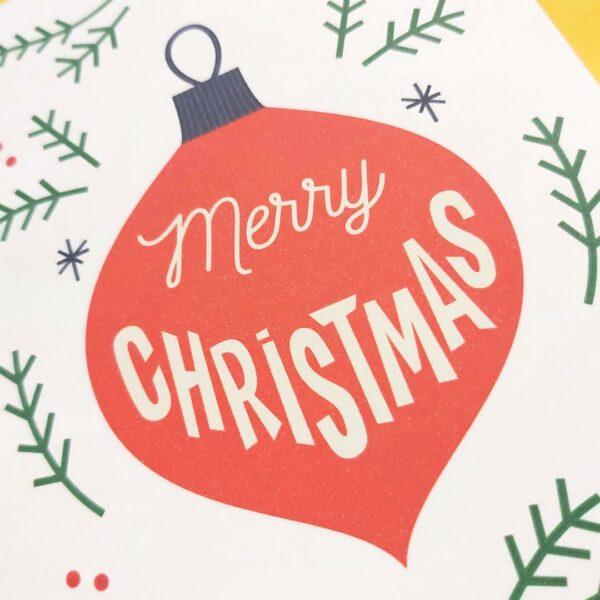 Kerstkaart Kerstbal Merry Christmas