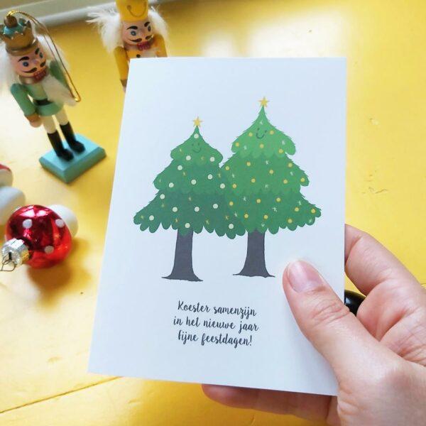 Mooie kerstkaart Twee kerstbomen