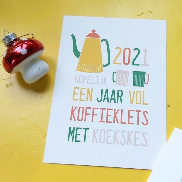 Kerstkaart met originele tekst - Koffie klets met koekskes