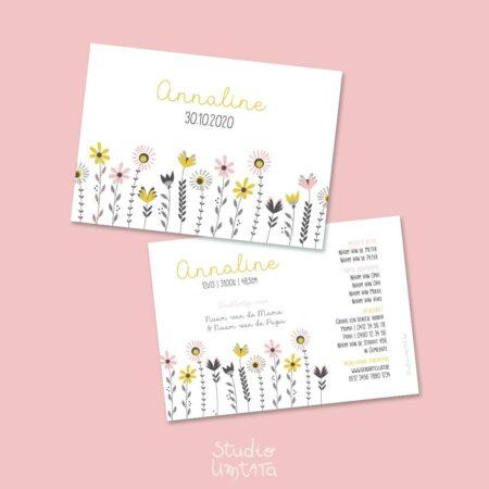 Lief geboortekaartje Annaline retro bloemen