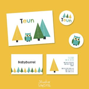 Leuk geboortekaartje met uiltje in het bos