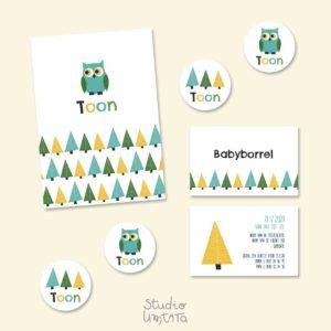 Tof geboortekaartje met uiltje in het bos