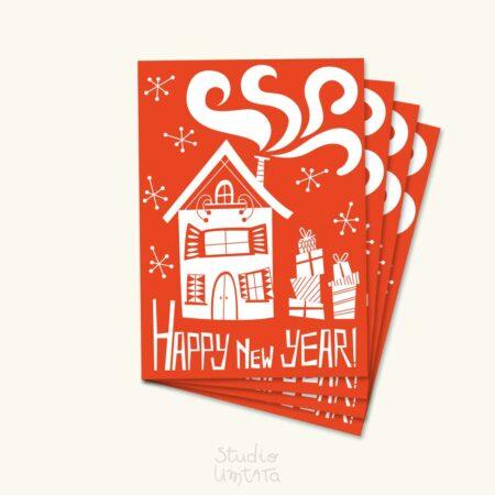Originele retro kerstkaart Winters huis