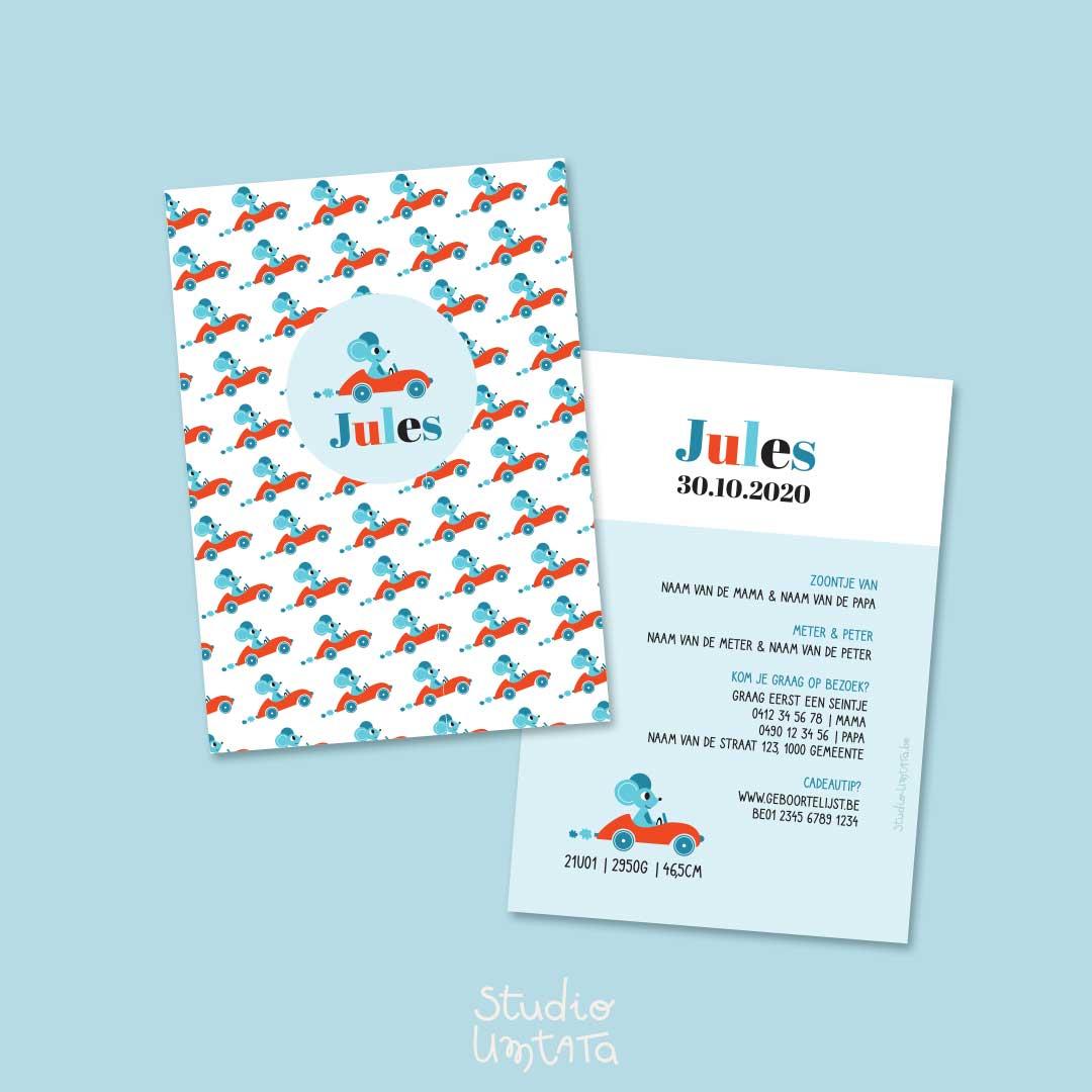 Geboortekaartje Jules muis in auto met print