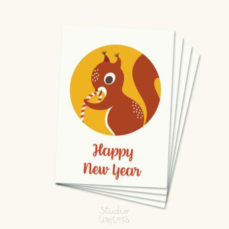 Kleurrijke kerstkaart met eekhoorn