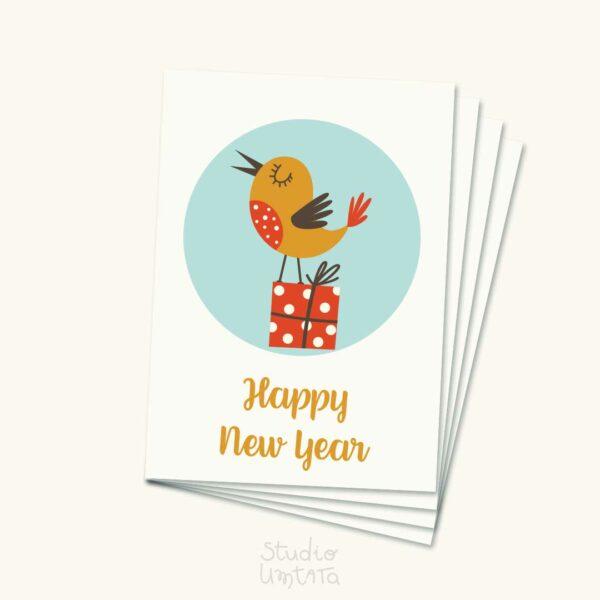 Kleurrijke kerstkaart met vogel met cadeau