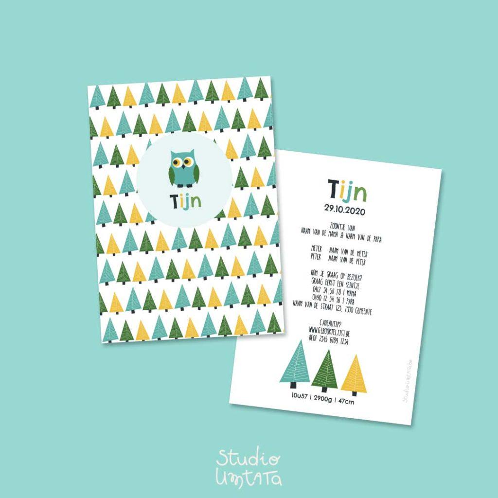 Geboortekaartje uiltje in het bos met print