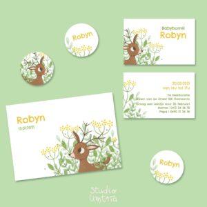 Mooi geboortekaartje Bambi in de bloemen