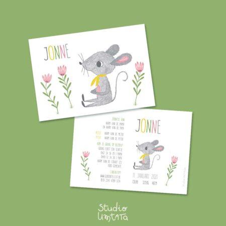 Lief geboortekaartje met muisje en bloemen
