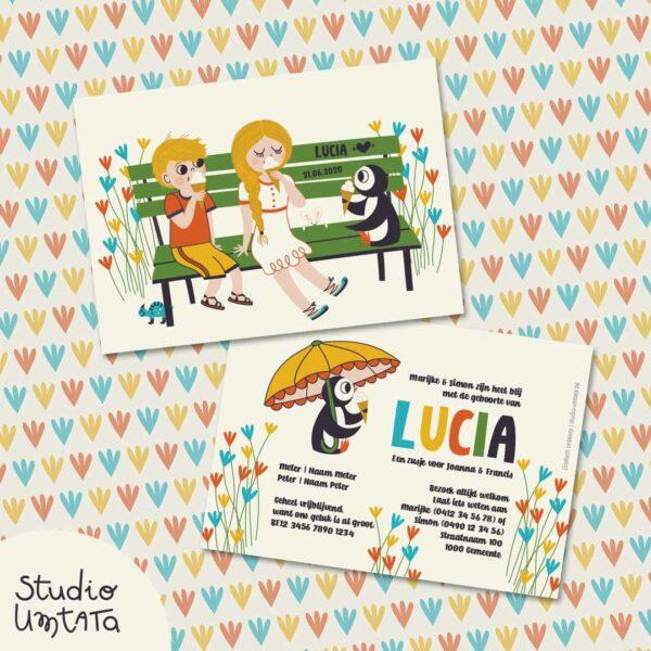 Geboortekaartje Lucia met pinguïn