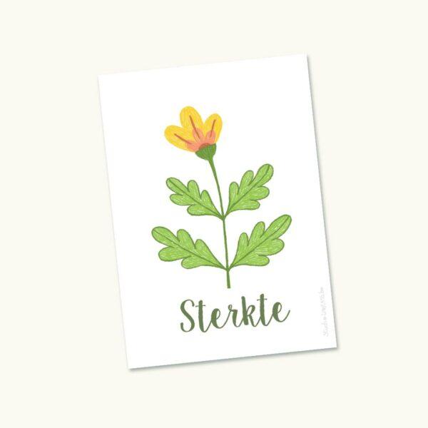 Hoopvol sterktekaartje Grote bloem geel