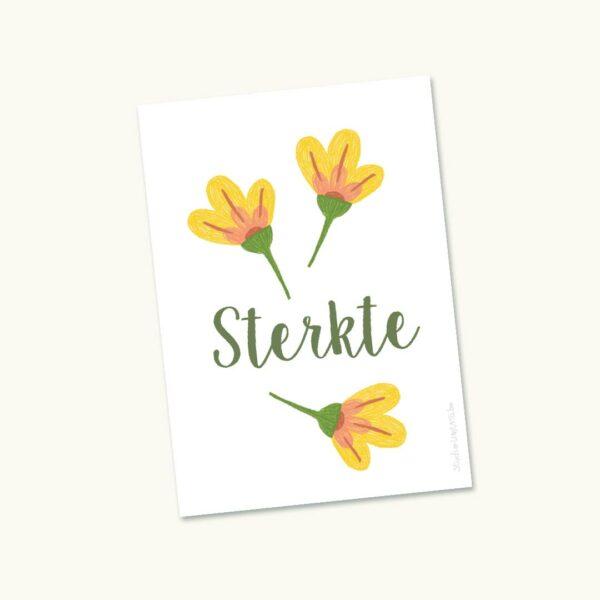 Hoopvol sterktekaartje Drie bloemen Geel