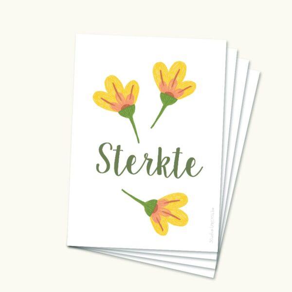 Pakketje Hoopvolle sterktekaartjes Drie bloemen geel