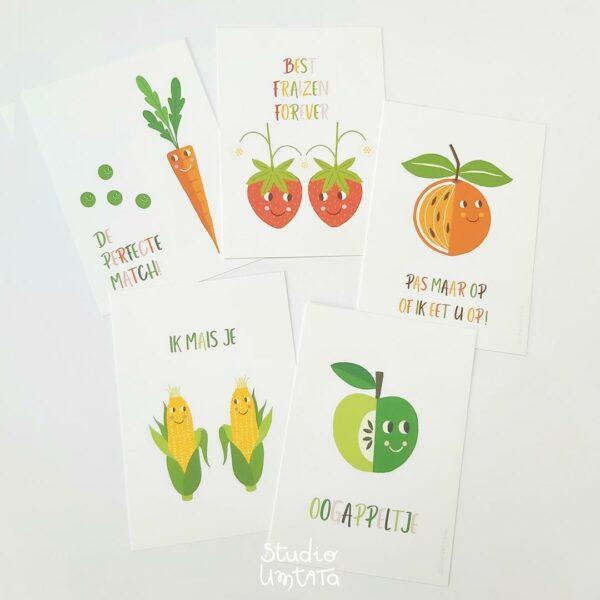 5 Liefde wenskaarten Groenten en Fruit