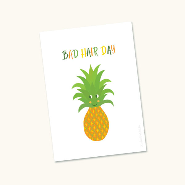 Wenskaart Ananas Bad hair day