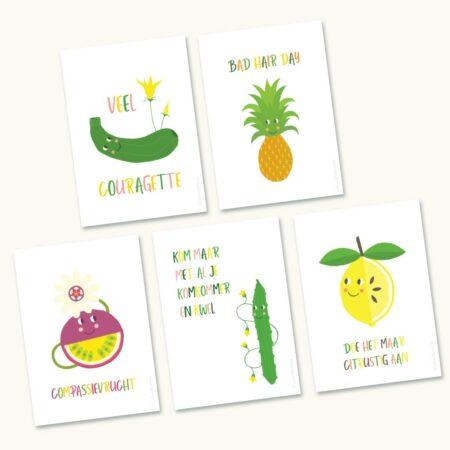 5 Steun wenskaarten Groenten en Fruit