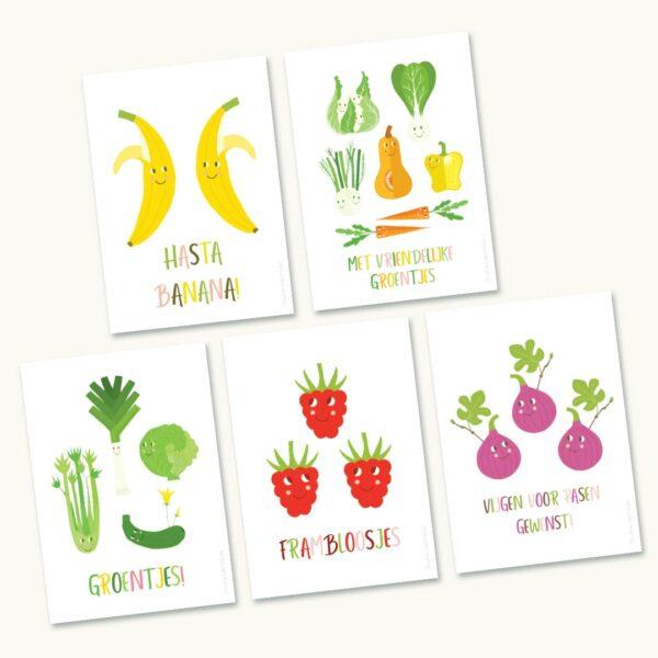 5 Zomaar wenskaarten Groenten en Fruit