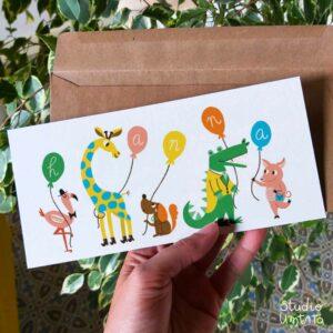 Vrolijk geboortekaartje Dieren met ballonnen
