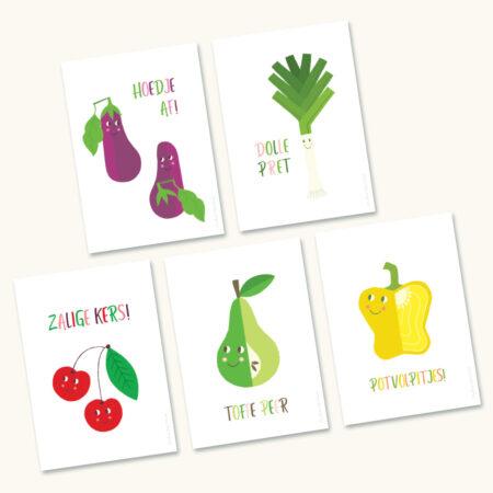 5 Positieve wenskaarten Groenten en Fruit