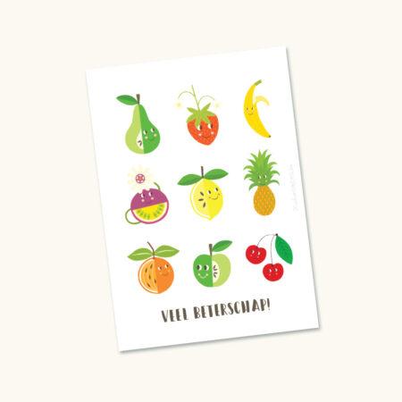 Wenskaart Fruit veel beterschap