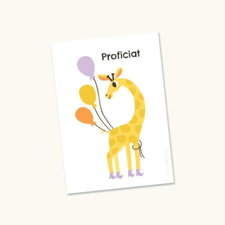 Wenskaart Giraf met ballonnen