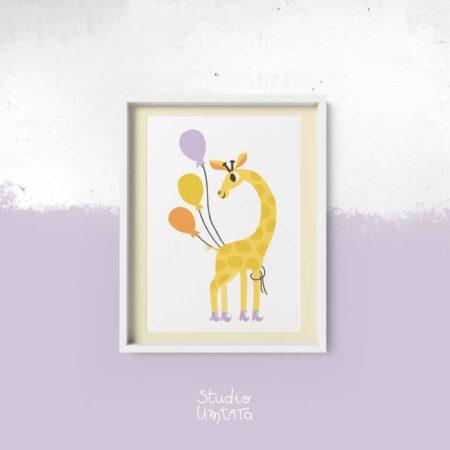 Poster Giraf met ballonnen