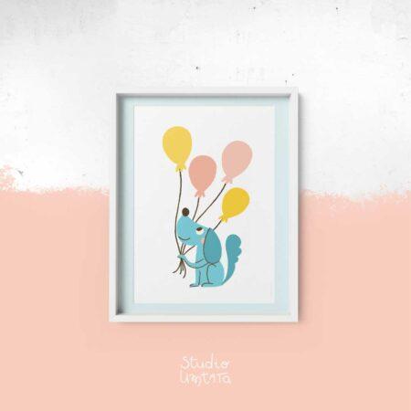 Poster Hond met ballonnen
