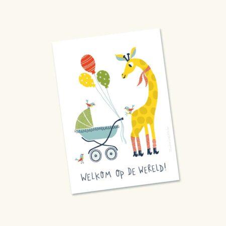 Wenskaart Geboorte Giraf met kinderwagen