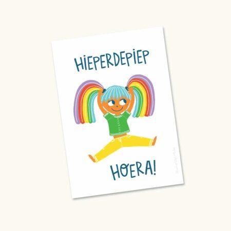 Wenskaart Hoera Rainbow girl