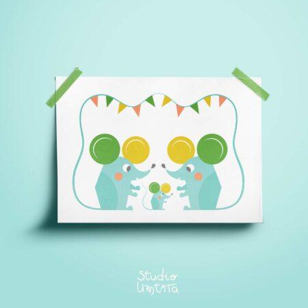 Poster kinderkamer Familie muizen