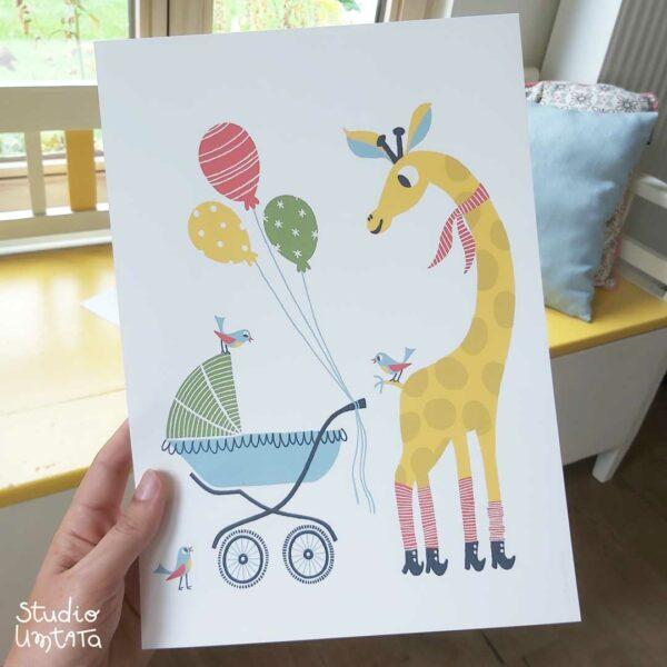 Poster Kinderkamer Giraf met kinderwagen