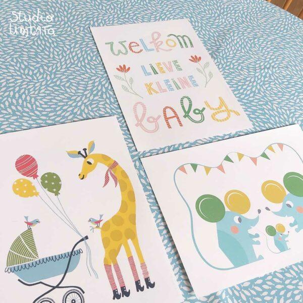 Postercombo Handlettering Welkom lieve kleine baby