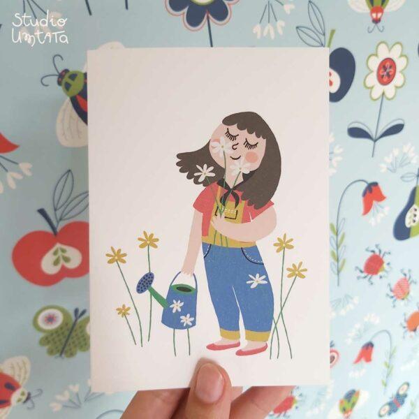 Wenskaart-meisje-bloemen-ruiken