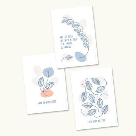 Pakketje van 3 rouwkaartjes met mooie teksten