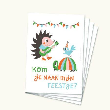 Wenskaart Uitnodiging feestje Egel Schildpad Vogel