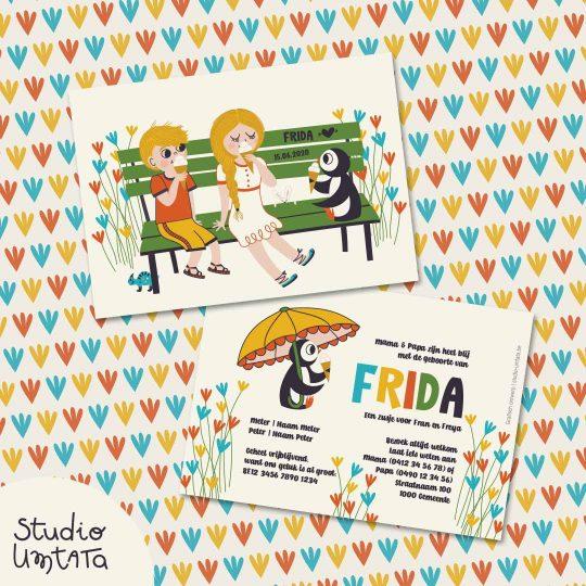 Geboortekaartje Frida op maat met kleurrijke illustratie