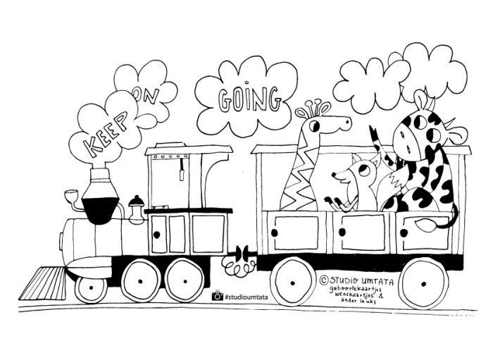 Corona kleurplaat trein